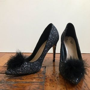 Fun sparkle heels with pompom fluff!